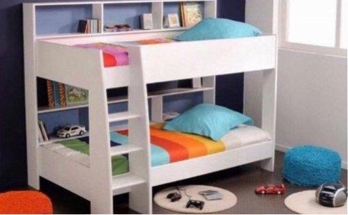 Etagenbett Mit Doppelbett : Etagenbett weiß grau inkl kleiderschrank real